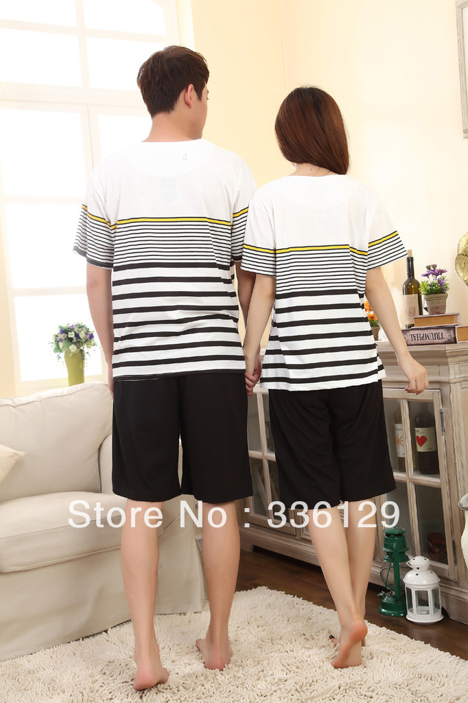 Free shipping!!! Summer Short Sleeve Couple Pajama Sets Lovers sleepwear Striped Cotton Sleep Lounge Wear M L XL XXL(China (Mainland))