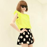 Sweet vintage big polka dot chiffon all-match high waist bud shorts loose casual culottes female