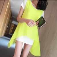 Neon 2013 summer women's faux two piece irregular behind placketing T-shirt fly o-neck short-sleeve chiffon shirt