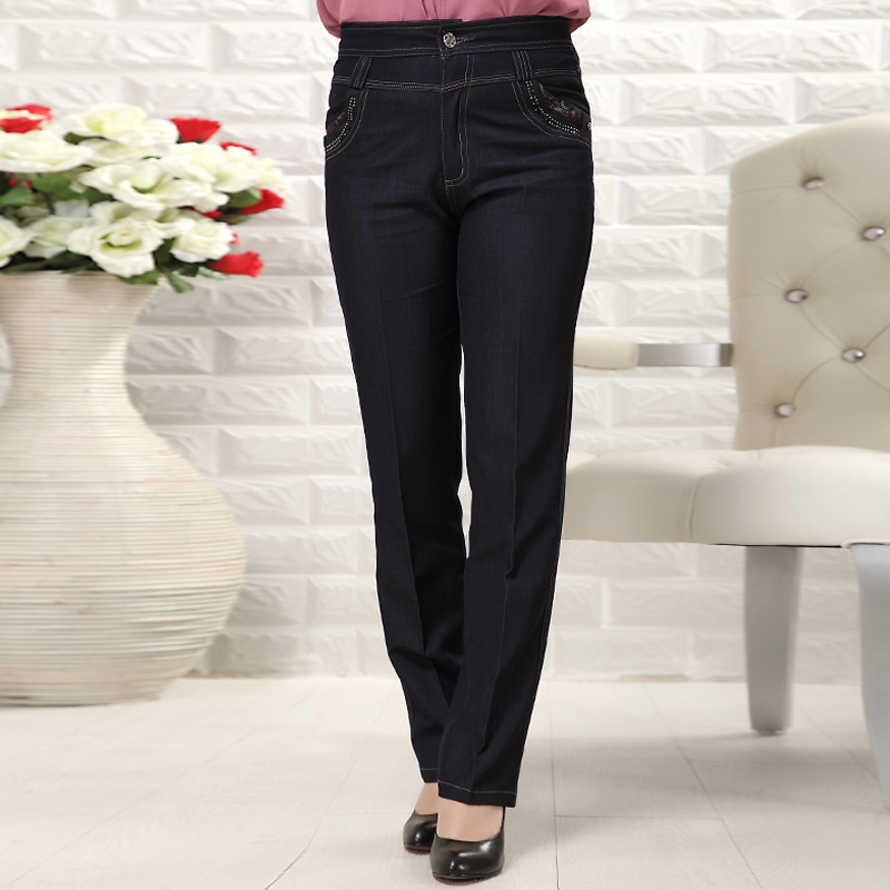 2013 quinquagenarian women's high waist jeans female trousers quinquagenarian pants mom pants EY(China (Mainland))