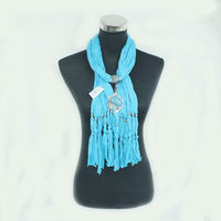 2013 Newest Fashion! High Quality Woman Long Wrap Jewelry Charm Scarves w/ Pendant, Factory Supply, Wholesale, SF631