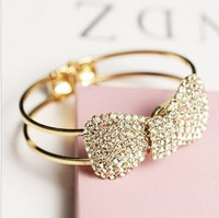 Min order is $10(mix order) Rhinestone gold plated bracelet bow bracelet fashion wide bracelets bling crystal cuff braceletSL029