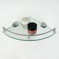 Bathroom glass shelf single tier corner bracket cosmetic rack storage rack basin corner shelf home appliance