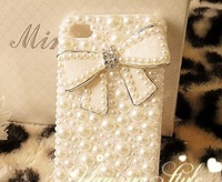 Pearl bow Case  for iphone 4 4s case for iPhone 5 case for GALAXY case custome