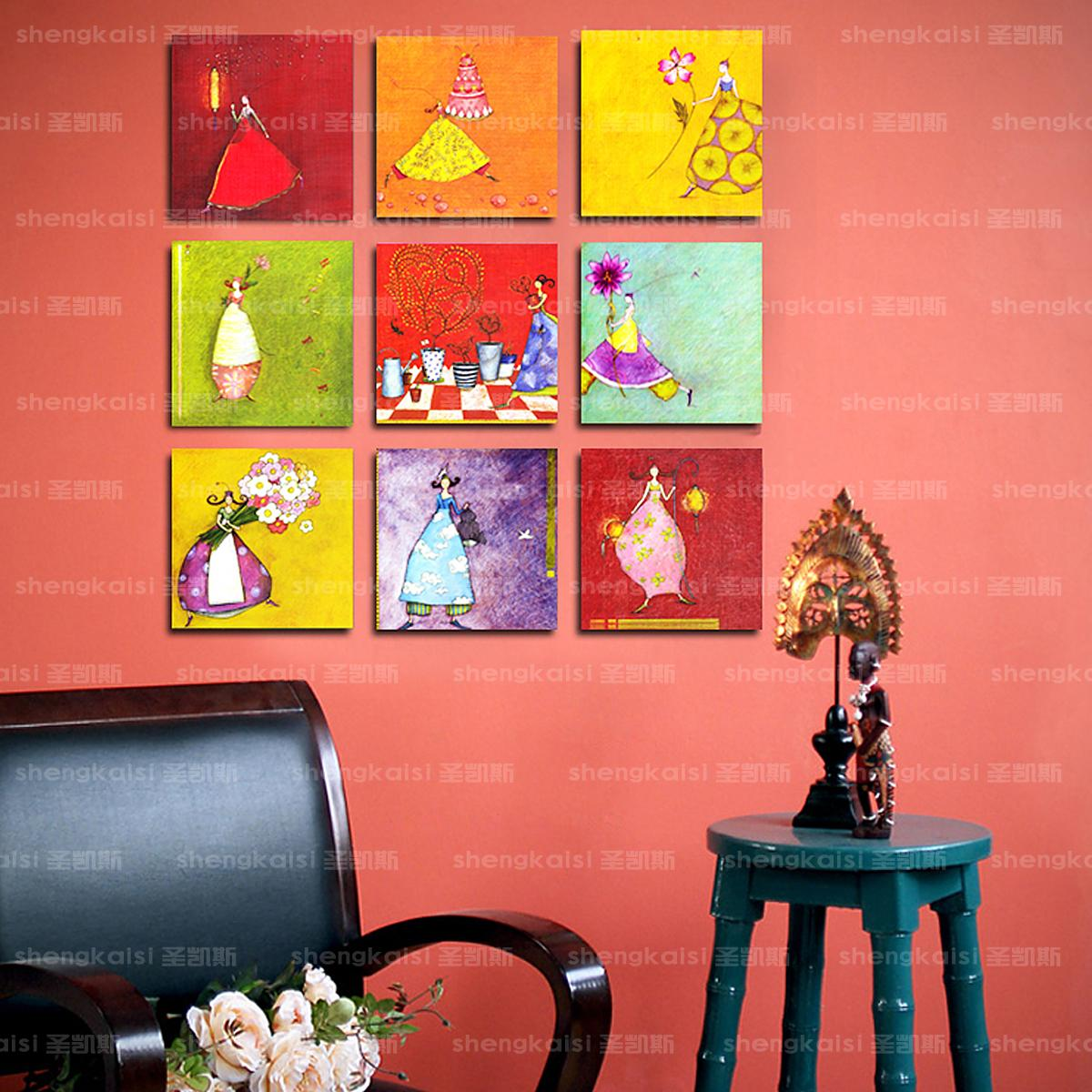 Free shopping Fairy painting small animal child cartoon decoration picture frame child real paintings(China (Mainland))