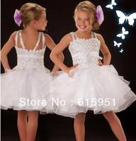 2013 Mini Length White Beaded Ruffled Organza Elegant Pageant Wear Little Girl Party or flower girl dress JY2173