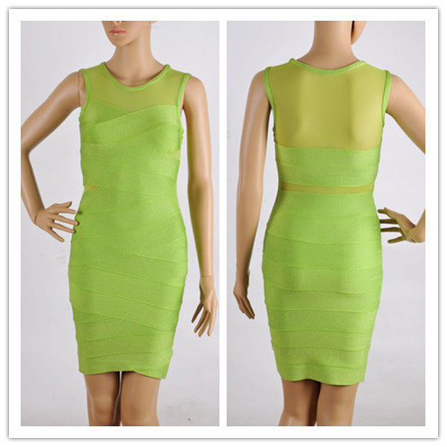 Women Green Bandage Dress Hot Celebrity Dresses HL Elastic Sexy Sleeveless Transparent Elegant Cocktail Party Evening Dress(China (Mainland))