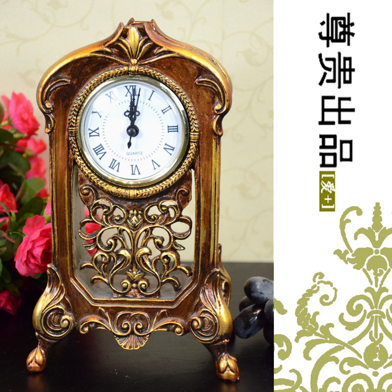 Fashion home rustic desktop clock decoration gold quality resin craft small clock(China (Mainland))