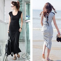 Euro Fashion Back Strappy Cotton Dress Sleeveless Beach Dress Fringes Shouder Maxi Skirts GB0534#