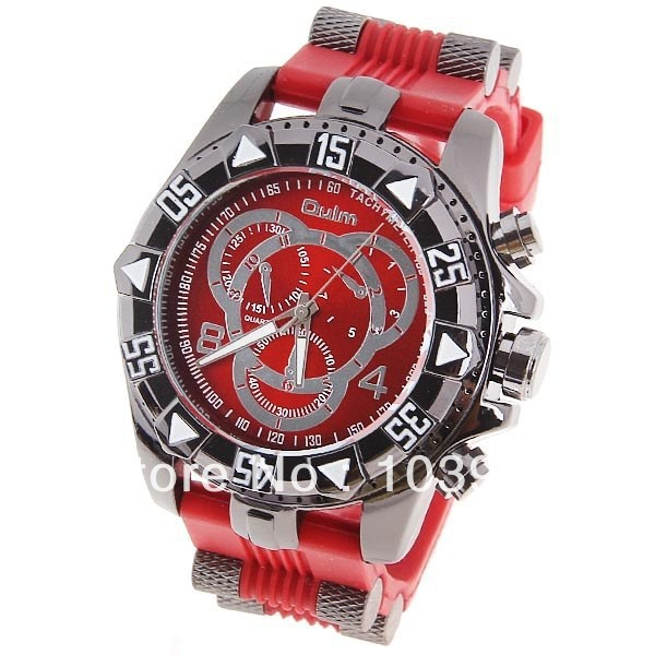 Oulm Women's Watch with Numbers and Strips Hour Marks Round Dial Red Silicon Band(China (Mainland))