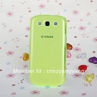 Free Shipping 10pcs/lot Shimmering Powder Transparent Crystal Hard Case for Samsung Galaxy SIII / i9300(Fluorescent Green)