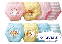 Free shipping! baby waterproof cotton potty training pants 6 layers diaper pants Baby underwear