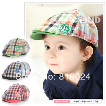2013 new arrival Child hat baseball cap baby beret caps popular plaid peaked sun hat baby pocket hat  4 colors