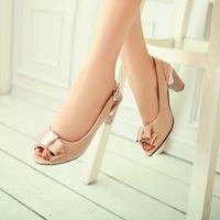 2013 Princess sweet fish toe sandals, summer Korean bow ladies shoes,women low thick comfort shoes large size 40-43