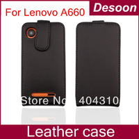 New arrival free shipping Leather Case for Lenovo A660, case for Lenovo A660,black in stock