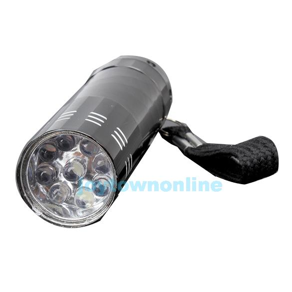9 LED Mini Flash Ultra Bright light Torch Black #1JT(China (Mainland))