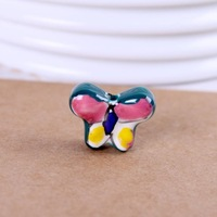 Diy ceramic bead earrings accessories chinese green powder butterfly knot pendant t063