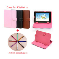 Free shipping multi-colors Protective Leather Case Cover Stand for 9 inch Tablet PC MID + stylish capacitive touch pen  PT7004