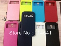 without logo Dormancy sleep function cover flip leather case battery View housing cover for Samsung Galaxy SIV S4 i9500
