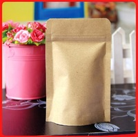 300pcs/lot Freesshipping 9*14cm stand up kraft paper bag  zip lock Food packaging bag small sample bag
