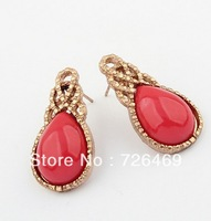 Min.order is $10 (mix order) Europe and the United States temperament  fine water droplets earrings (dark red)