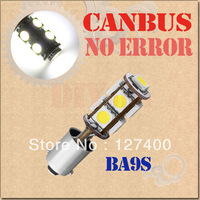 2pcs BA9S 9 SMD Pure White CANBUS OBC No Error Interior Car T4W 9 LED Light Bulb