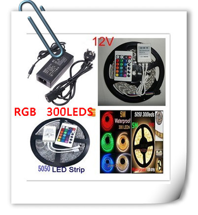 High Quality 5M RGB waterproof IP65 SMD5050 300LEDs/Roll DC12V 72W 5A power supply flexible LED strip light Free shipping!(China (Mainland))
