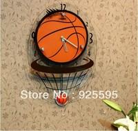 Free shipping &2013 fashion  living room bedroom decoration basketball swing wall clock
