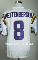 Free Shipping -#8 Zach Mettenberger Men's College White Football Jersey