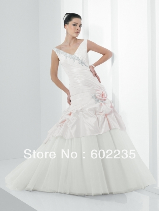 2013 New romantic tulle bridal taffeta wedding dress custom make 2 4 6 8 10 12 14 16 18+++(China (Mainland))