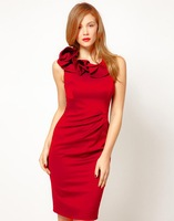 Free shipping slim sexy ruffled collar dress evening dress S-XXL