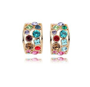 Fashion ! Platinum Plated SWA ELEMENTS Austrian Crystal Stud Earrings FREE SHIPPING 5 colrs(China (Mainland))
