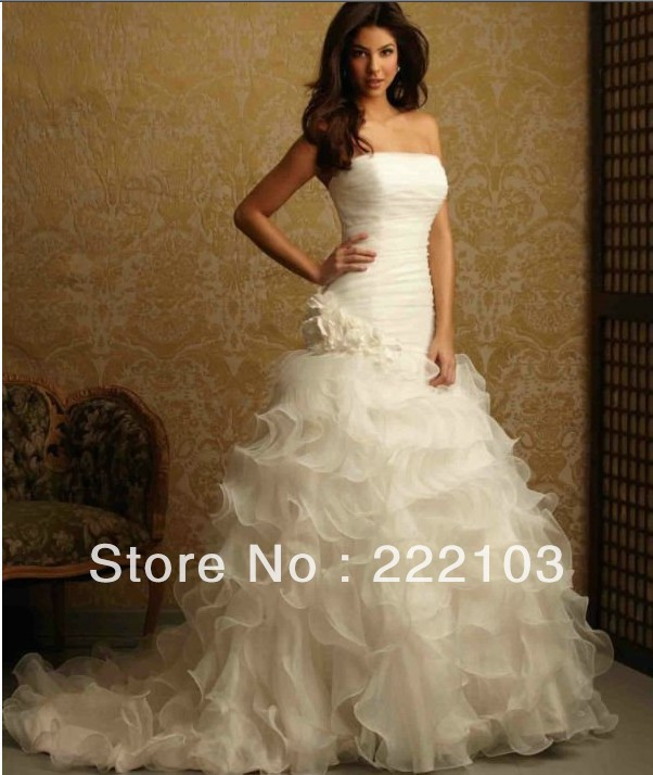 New white/ivory Wedding dress Custom Organza Strapless Bridal Gown(China (Mainland))