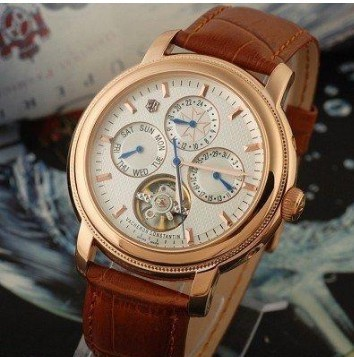 KIKI White Dial Rose Gold Stick Markers RG Case Brown Leather Strap Automatic Men's Watch(China (Mainland))