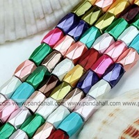 Magnetic Hematite Beads Strands,  Column,  Faceted,  Spray-Painted,  Mixed Color,  about 5mm wide,  8mm long,  hole: 0.5mm