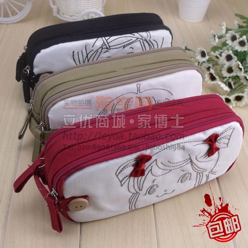 Hearts . korea stationery cotton cloth pencil case fresh big capacity multifunctional pencil box