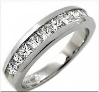2.00CT Princess Cut Three Stone Engagement Ring Set
