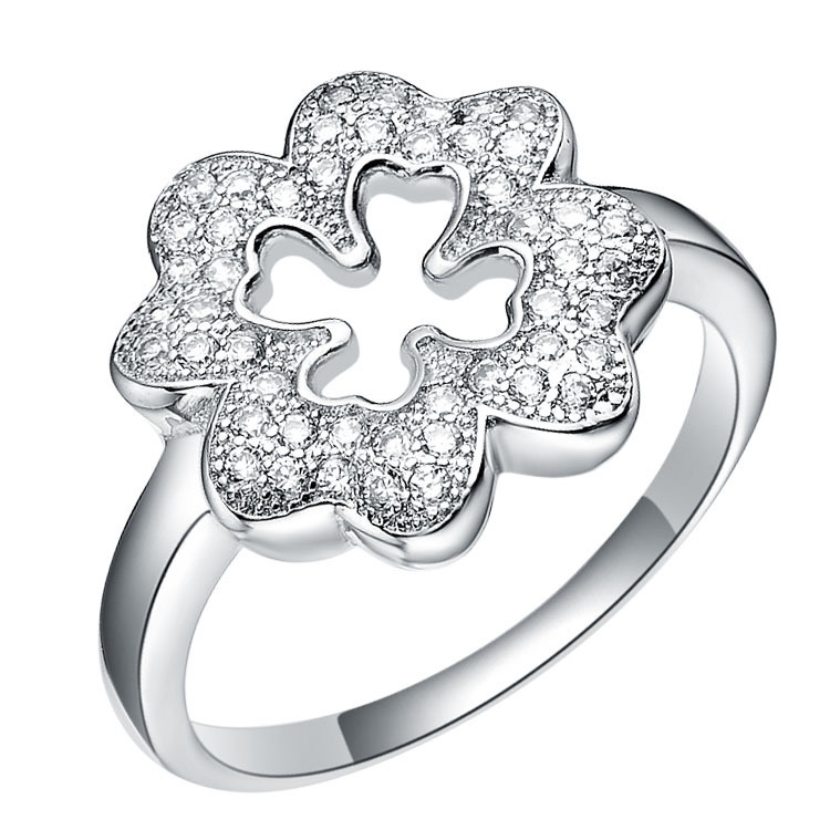 Clover Ring in 18K white gold plated 925 sterling silver rings made Deluxe Edition Ring Micro Pave Series(China (Mainland))