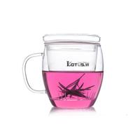 transparent  office   heat resistant  belt flower tea   , Glass Cups