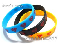 Free Shipping blue/black/yellow Superman Silicone Bracelets for party Wristbands Jewelry Lots Mix color