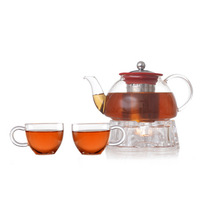 The new heat-resistant glass tea set flowers, flowers teapot + cup, thicker section