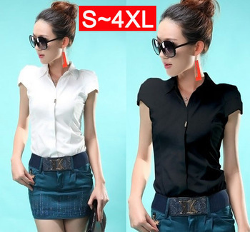 Free Shipping! Puff Sleeve chiffon shirts blouses for women 2013, plus size xxxxl woman blouse, women's business shirts DM192(China (Mainland))