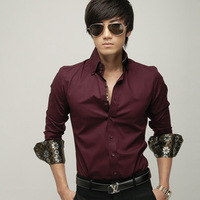 Men's clothing shirt male satin lining slim shirt Wine red shirt free shopping