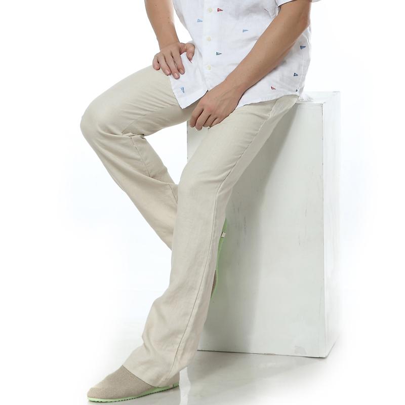2014 male pure linen casual pants straight pants loose comfortable linen long trousers fresh breathable thin()