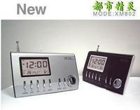 Electronic calendar thermometer alarm clock radio timer clock radio clock table clock silver