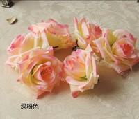 Deep Pink 50Pcs/Lot 8cm Artificial Silk Big Rose Flower Heads Wedding Christmas Party 6Colors Diy Jewlery Brooch Headwear