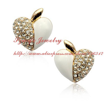 5pcs/lot,18K Real Gold Plated Austrian Rhinestone Opal Heart stud Earrings,Jewelry Earrings,FREE SHIPPING LE-30608-88(China (Mainland))