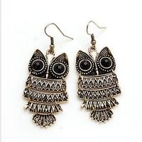 Promotion Bohemian Retro Owl Earring Pendant Earring(Bronze)