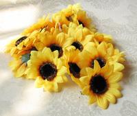 50Pcs/Lot Artificial Simulation Silk Sunflower Flower Head Wedding Party Show 7CM Decoration Flowers Free Shipping