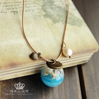Vintage ocean wind pearl shell glass ball pendant long design necklace female necklace chain